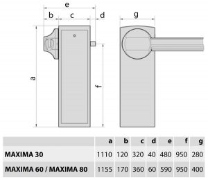 Maxima - Abmessungen